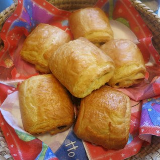 Beautiful warm Chocolate Croissants