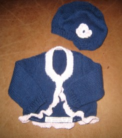 Cardigan and beret
