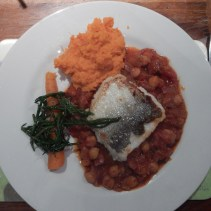 Hake on a Ragu with Chorizo, with Samphire and Sweet Potato Mash