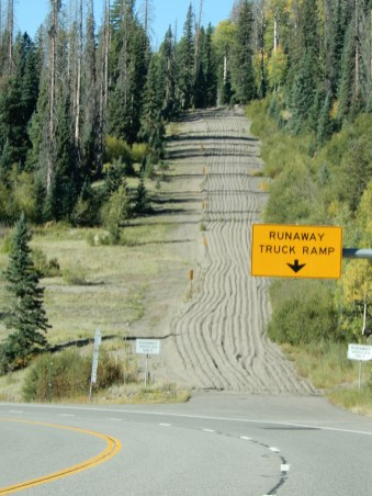 Ramp for runaway trucks travelling on this very steep, switchback road
