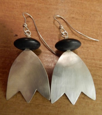 Earrings by Sarah Watson of St Ives, bought in the Light House gallery, Penzance