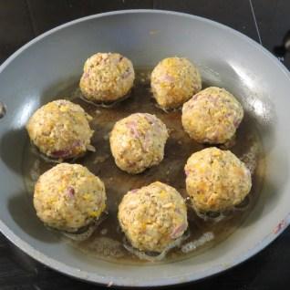 Balls frying in butter