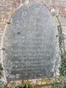 Tomb stone to the Treffry Family family who lost four babies aged between 9 weeks and 1 year 24 weeks. The stone tells us the dates of their burials, 1795, 1798, 1804 and 1806 and the parents themselves, John in 1808 and Anne in 1809