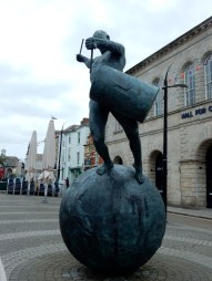 This bronze sculpture by Tim Shaw was unveiled in 2011 by Queen drummer Roger Taylor, who was born in Truro, and is meant to symbolise the spirit of Cornwall