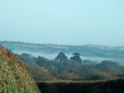 Mist in the valley towards Perranwell Station