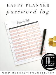 Happy Planner password log