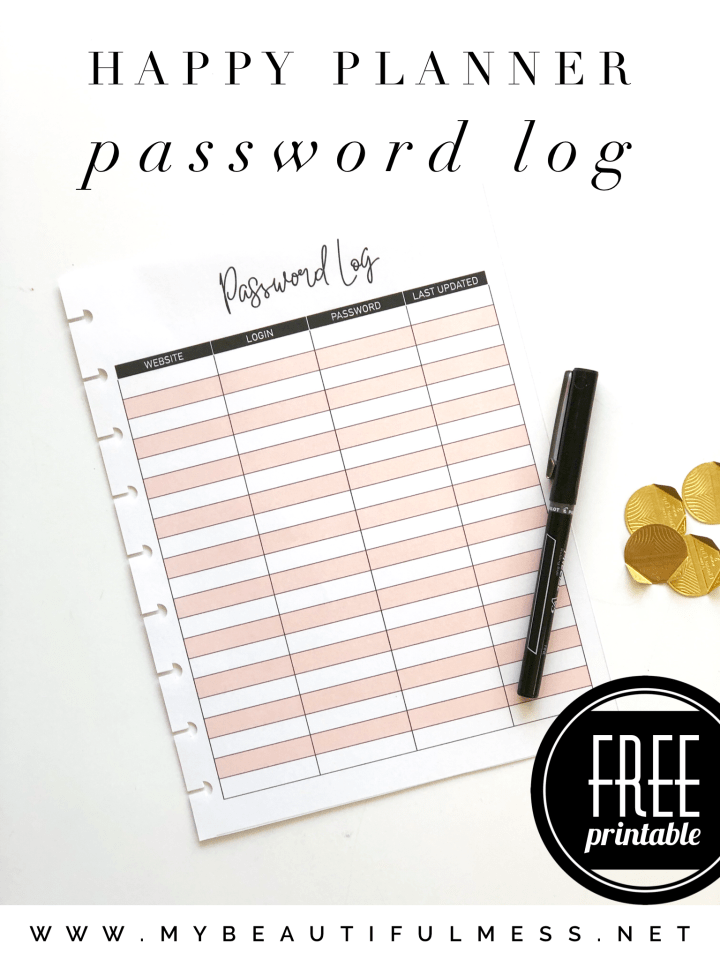 Happy Planner password log
