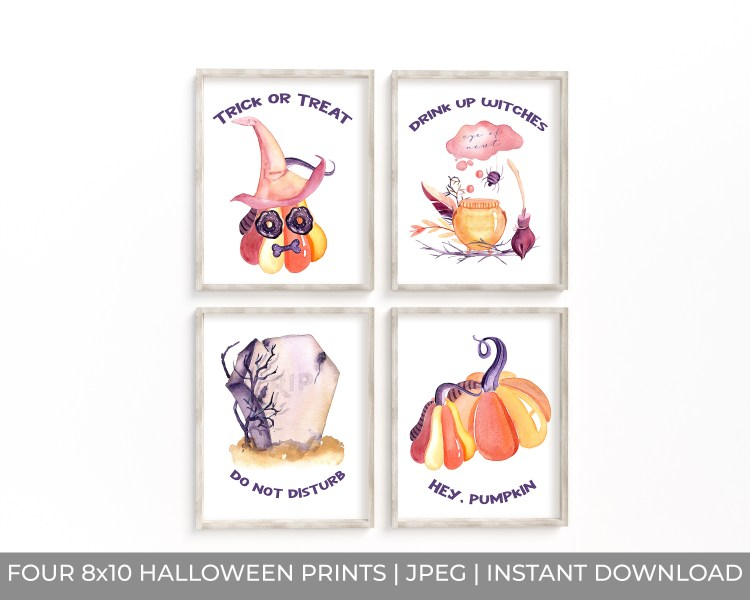 Halloween Watercolor Wall Art