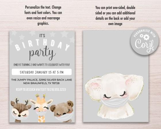 Animals in Masks Birthday Invitation