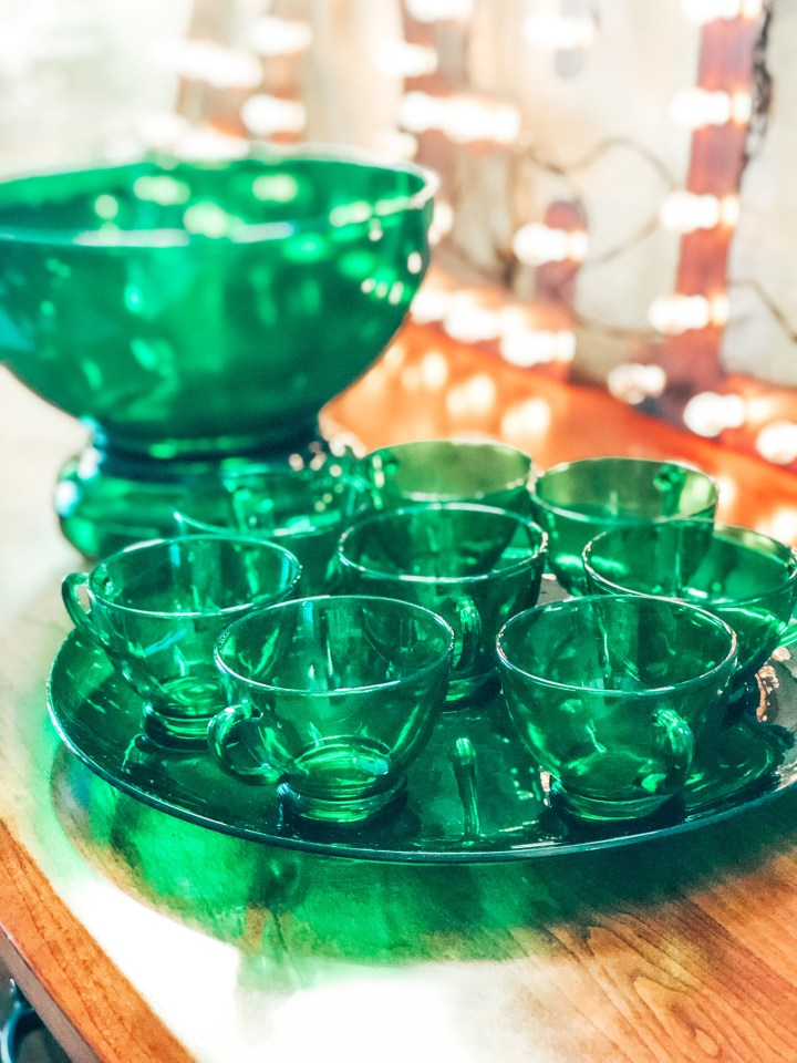 Vintage Green Punch Bowl