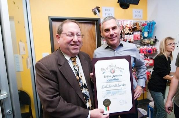 Friends of LA Animal Shelters Board President John Mass and LA City Councilman Paul Koretz