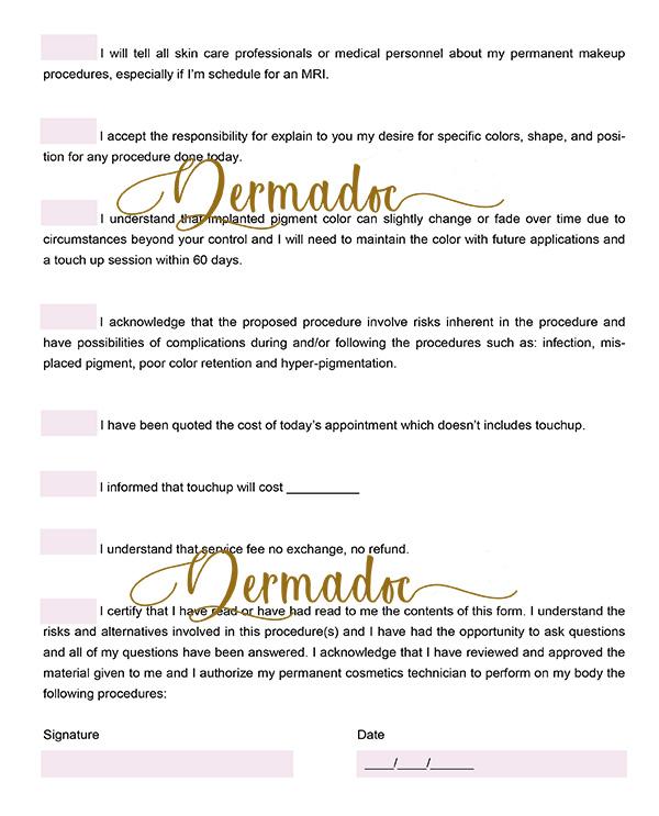 USA printable pdf microblading aftercare form