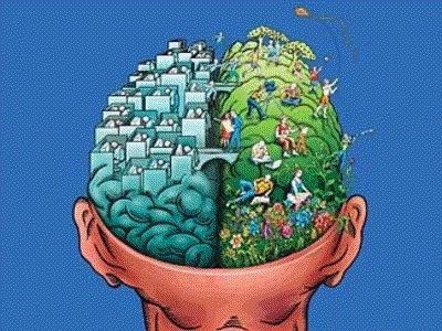Cerebro com Dois Contraditorios Pensamentos