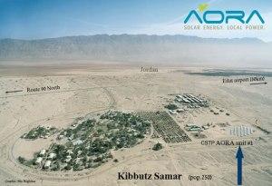 Energia Renovável: Vista Aérea do Kibutz Samar. Ao Fundo Direito (Seta) a Usina Solar-aerial-view-Israel