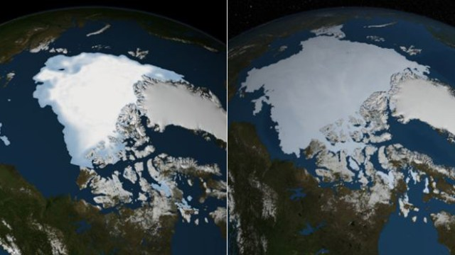 Aquecimento Global - Imagens de satélite da NASA Mostram a Mudança na Cobertura de Gelo do Mar Ártico (Fonte: NASA)