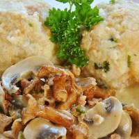 German Bread Dumplings with Chanterelle Sauce