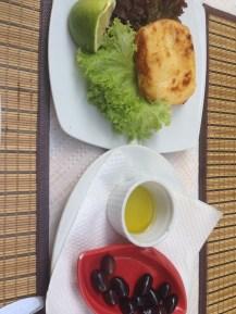 Fried feta, olives, olive oil
