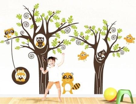adesivo bosco cameretta bambini
