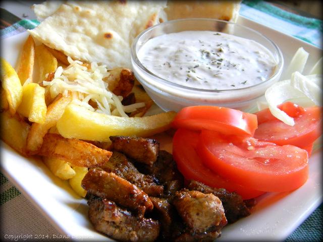 Gyros grecesc cu carne de porc