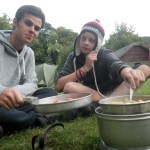 Cooking tea at the overnight camp