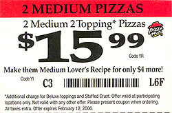 Pizza Hut Coupon - NOT GOOD FOR CHEESE LOVER'S - No matter what the coupon says!