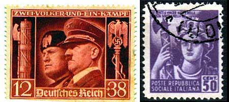 Hitler Mussolini fasces stamp