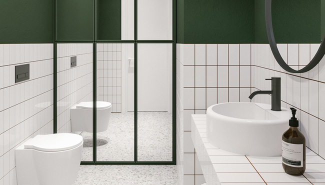 vert et blanc dans la salle de bain