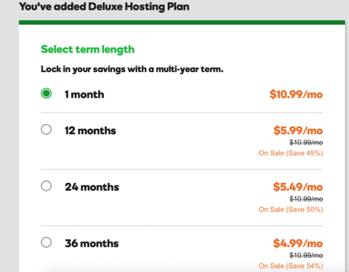 GoDaddy monthly plan