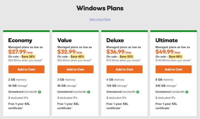 GoDaddy managed Windows VPS Plans
