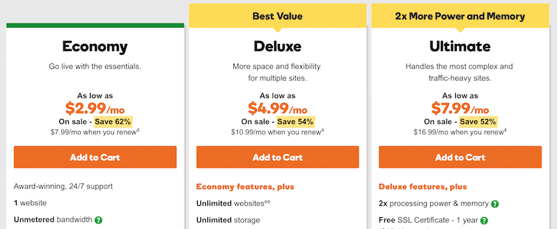 GoDaddy web hosting plans