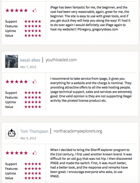 iPage Reviews from customers