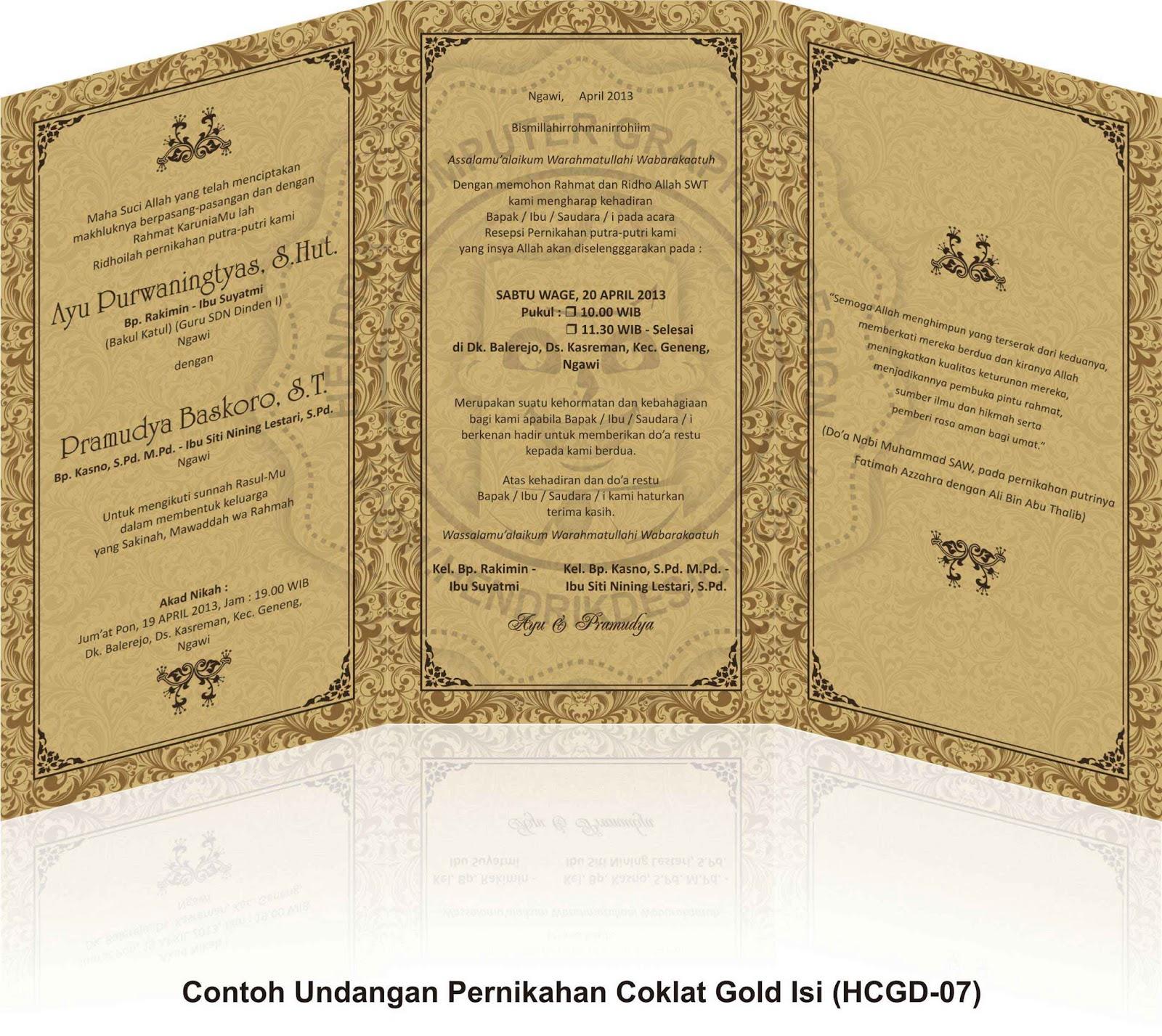 Contoh Undangan Pernikahan Coklat Gold Hcgd 07 Online Shopping