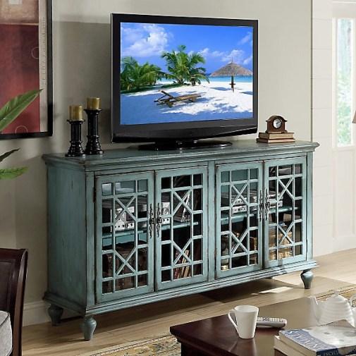 Joplin 4-Door TV Stand in Bayberry Blue-