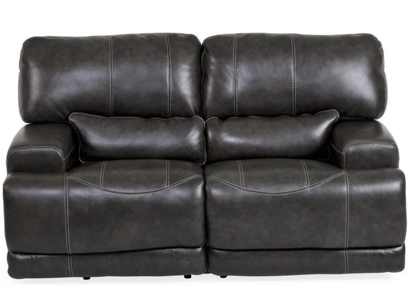 Dash Black Leather Reclining Loveseat