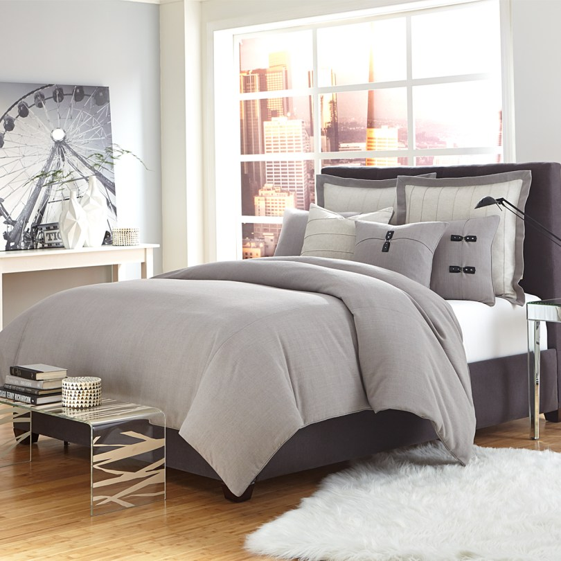 Bed with Gray Linen Bedding & Duvets