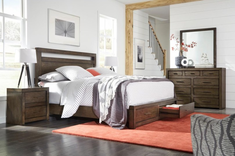 Panel Bed with Storage Drawers in Bedroom