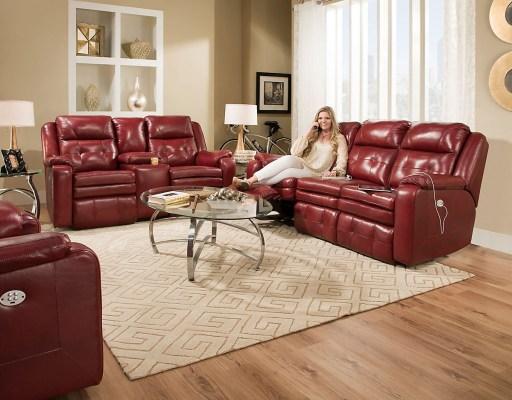 Women sitting on top grain leather sofa
