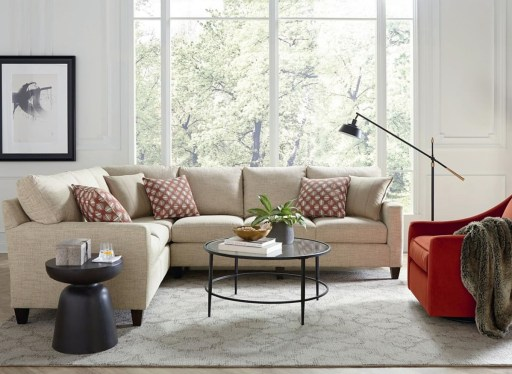 L-Shaped Sectional with Red Accent Chair in Living Room