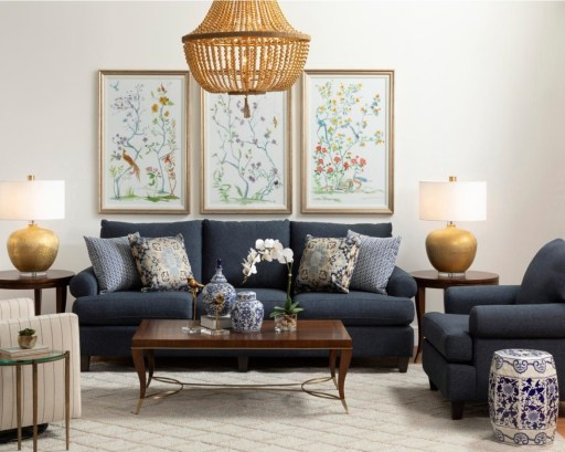 A Small Blue Sofa in Stylish Living Room
