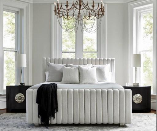 White Upholstered Bed in Modern Bedroom