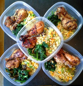 meal prep - baked chicken, brown rice with peppers and sauteed spinach