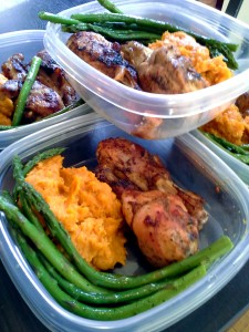 Meal prep - yams, asparagus and baked chicken