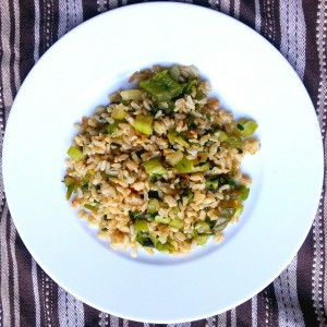 Brown Rice green vegetables peppers onions