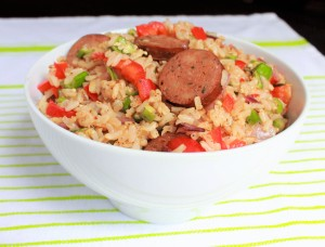 Okra Dirty Rice with Smoked Chicken Sausage