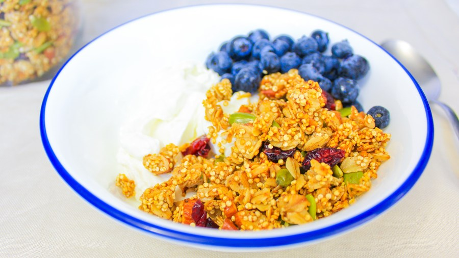 spiced quinoa oats granola greek yogurt blueberries