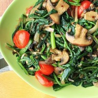 Dandelion Greens with Mushrooms and Tomatoes
