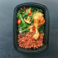 Meal Prep - Dandelion Greens, Red Rice, Chicken with Vegetables