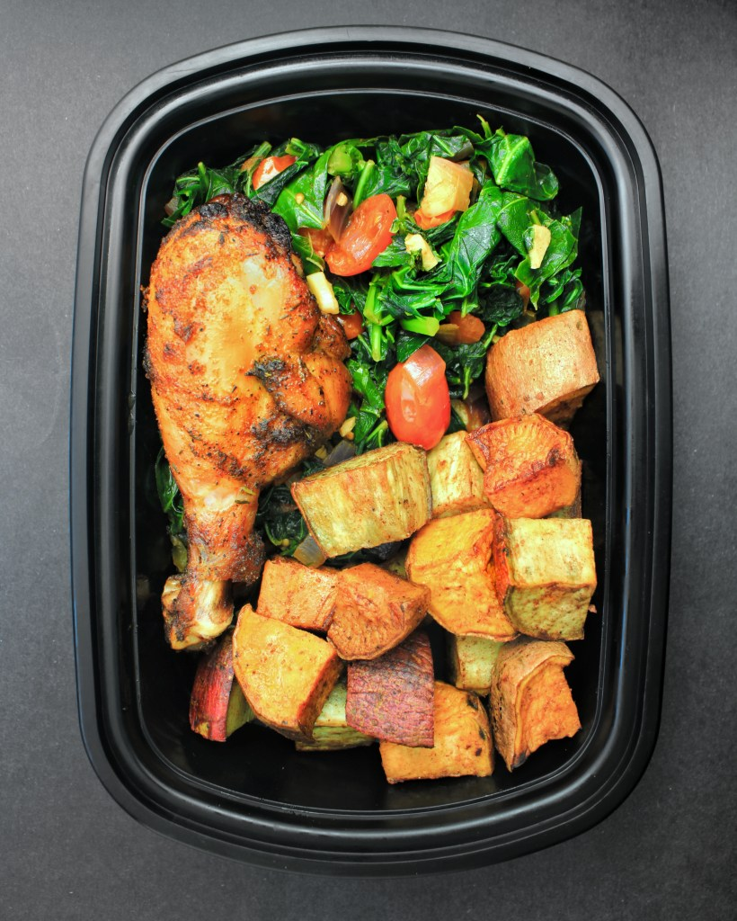 Meal Prep - Roasted Sweet Potatoes, Chipotle Garlic Collard Greens and Baked Chicken