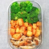 Meal Prep - Garlic Roasted Butternut Squash, Roasted Chicken & Broccoli