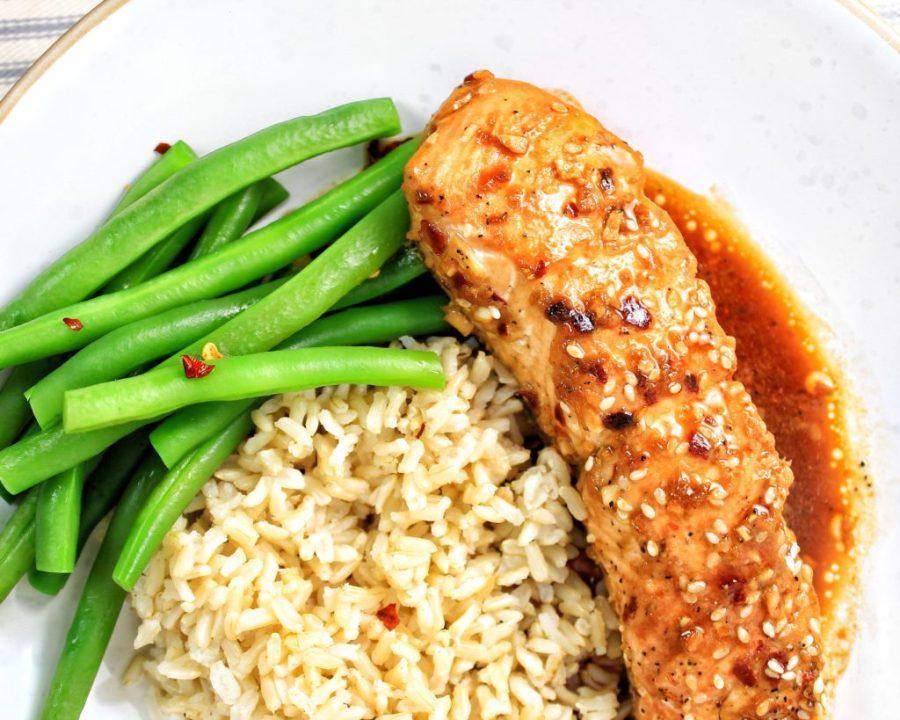 Sesame Ginger Glazed Salmon Brown Rice String Beans - My Body My Kitchen